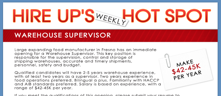 Now Hiring Warehouse Supervisor In Fresno, California - Hire Up